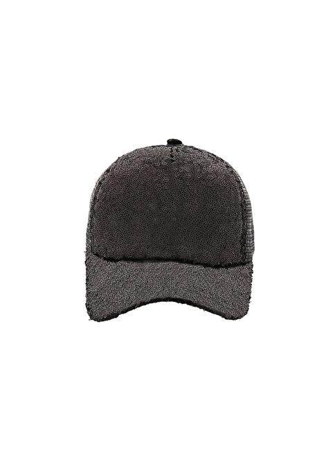 Laslusa Parlak Taşlı Beyzbol Cap Şapka Gri